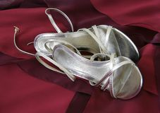 Silver slippers Royalty Free Stock Image