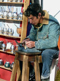 Silver Smith making cups for mate tea. Argentina Royalty Free Stock Images
