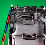 Silver Snare Drum Isolated On Green Royalty Free Stock Photo