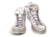 Silver sneakers Royalty Free Stock Image