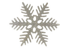 Silver snowflake. Isolated on a white background Stock Photography