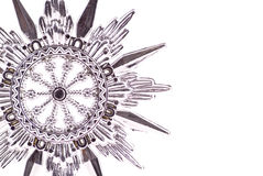 Silver Snowflake. Ornament Background with Custom Space Royalty Free Stock Photography