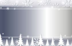 Silver Snowflake And Trees Background Border 2 Royalty Free Stock Image