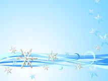 Silver Snowflake Blue Waves. Graphic illustration of snow sky with photo montage of silver snowflake element Royalty Free Stock Photography