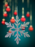 Silver snowflake with glitter Royalty Free Stock Photo