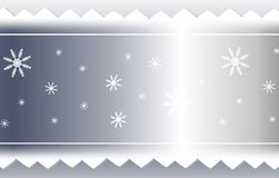 Silver Snowflake and Sawtooth Ribbon Background. A background illustration featuring silver colored sawtooth ribbon decorated with snowflakes Stock Photo