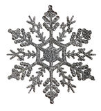 Silver snowflake shape decoration isolted on white Stock Image