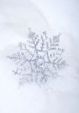 Silver snowflake in snow. With white feathers and pearls Royalty Free Stock Photography