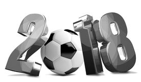 2018 silver soccer ball 3D render football. Illustration Stock Image