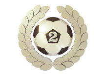 Silver Soccer ball with the number 2 in a Laurel wreath Royalty Free Stock Photos