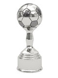 Silver soccer ball trophy on pedestal. Isolated on white. High resolution 3D image Stock Photos