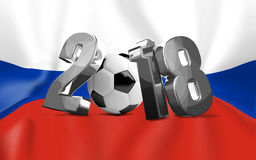 2018 silver soccer football russian 3d render symbol. Illustration graphic Stock Image