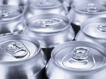 Silver soda cans Stock Photography