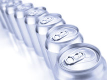 Silver soda cans Royalty Free Stock Photos