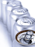 Silver soda cans Stock Image
