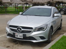 Silver solor Mercedes-Benz CLA 200 in Lima Stock Photo