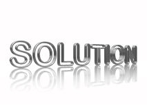 Silver solution. 3d silver text solution with reflection over white Stock Photo
