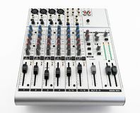 Silver sound mixer Royalty Free Stock Photo