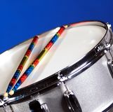 Silver Sparkle Snare Drum on Blue Stock Images