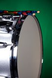 Silver Sparkle Snare Drum on Green Royalty Free Stock Photography