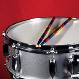 Silver Sparkle Snare Drum on Red Royalty Free Stock Photo