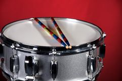 Silver Sparkle Snare Drum on Red Stock Photo