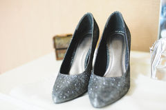 Silver Sparkling Shoes Royalty Free Stock Image