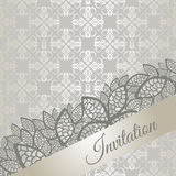 Silver special occasion invitation card. Silver special occasion (engagement, wedding, birthday party) invitation card. This image is a vector illustration Royalty Free Stock Images