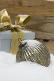 Silver sphere and gift for christmas Royalty Free Stock Images