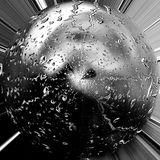 Silver Sphere. An image that was manipulated in Photoshop to create a Spherical image Stock Photo