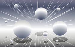 Silver Spheres Flying Through Space Royalty Free Illustration