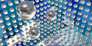 Silver spheres flying in a tech space Royalty Free Stock Photos