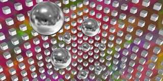 Silver spheres flying in a tech space Royalty Free Stock Images