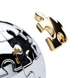 Silver spherical jigsaw puzzle Stock Photos