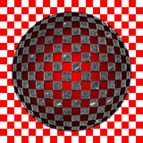 Checkered sphere. An illustration of a sphere with a checkered texture on a checkered background Vector Illustration