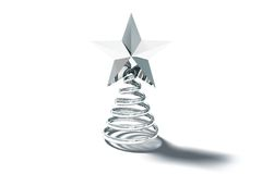 Silver spiral christmas tree ornament Stock Images