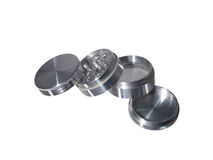 Silver spliff weed grinder. Metal royalty free stock photography