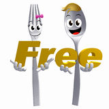 Silver Spoon fork character with free sign symbol Royalty Free Stock Photography