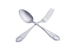 Silver spoon and fork isolated on white background Stock Photography