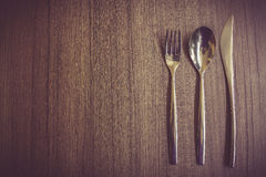 Silver spoon,fork and knife Royalty Free Stock Image