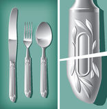 Silver spoon, fork and table knife Royalty Free Stock Photography