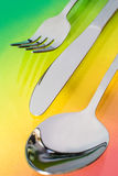 Silver spoon, knife, fork Royalty Free Stock Images