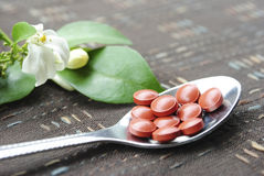 Silver Spoon with Pills Stock Images