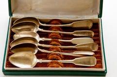 Silver spoon set stock photos