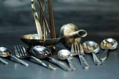 Silver spoon set Royalty Free Stock Image