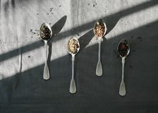 Silver spoons with herbs and tea leaves. Food photography of a few silver spoons with herbs and tea leaves on a grey linen table cloth - shadow / light play stock image