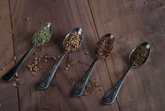 Silver  Spoons with  Spices Royalty Free Stock Photo