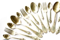 Silver Spoons, Tea Spoons and Forks. Set Stock Image