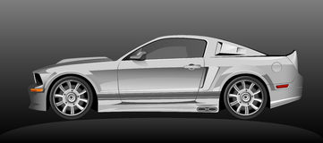 Silver sport car. On a dark background stock illustration