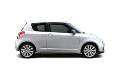 Silver Sport car. Silver Suzuki Swift isolated on white Royalty Free Stock Images